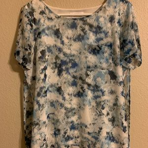 Calvin Klein multi layer blue blouse medium